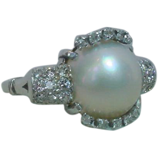 Vintage Art Deco Platinum Cultured Blister Pearl Diamond Ring