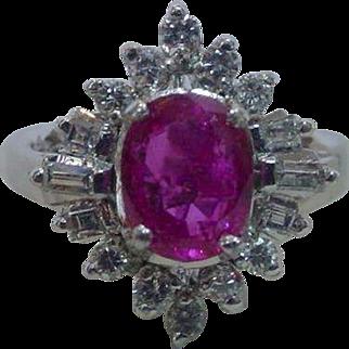 Vintage 900 Platinum No Heat Burmese Ruby and Diamond Ring