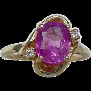 Vintage No Heat 1.5 Carat Pink Sapphire Ring EGL Certified