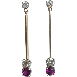 Vintage 1.2 CTW Diamond and Ruby Earrings in 14k Gold