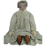 Antique Primitive Folk Cloth Doll with Oil Painted Features