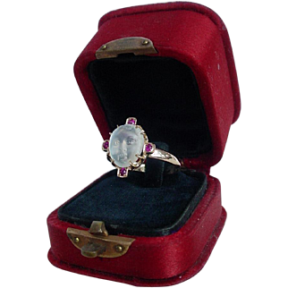Antique Carved Baby Face Moonstone and Ruby Ring Victorian