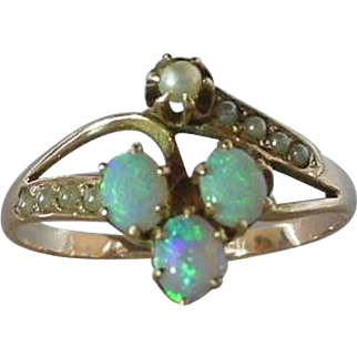 Antique Victorian Opal and Seed Pearl 14K Gold
