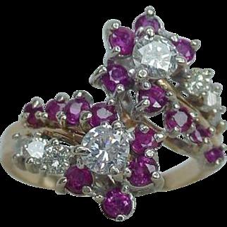 Vintage Diamond Ruby Crossover Ring Art Deco Retro Kohinoor 14k Gold