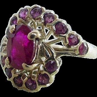 Vintage Retro 1.5 Carat Natural Ruby Swirl Ring