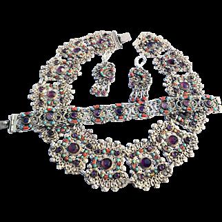 Exquisite! Morales 925 Mexico Necklace, Bracelet & Earrings Set