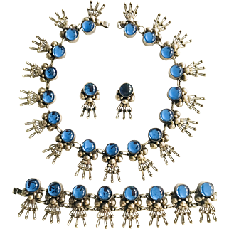 Gorgeous! Pre-1948 Los Ballesteros Sterling Silver Parure with Blue Glass