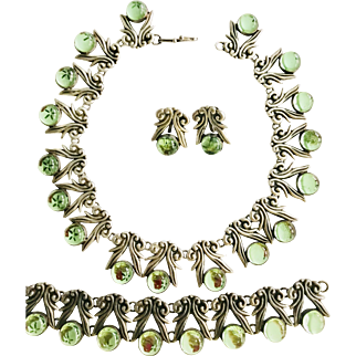 Stunning!Pre -1948 Vintage Art Deco Taxco Sterling Lime Green Glass Parure