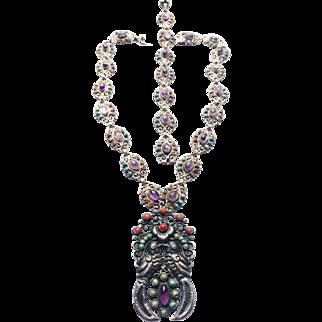 Gorgeous! Rivera 925 Mexico Quetzal Birds Pair Ornate Necklace and Bracelet Set