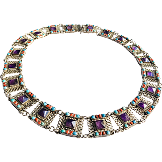 Gorgeous! Morales Necklace 925 Mexico Silver with Amethyst, Turquoise and Coral color stones.