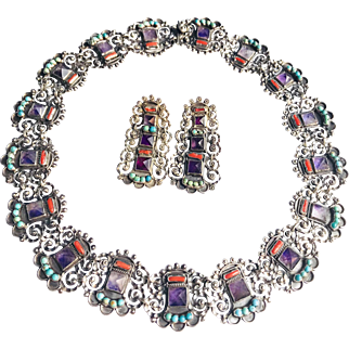 Superb! Rivera 925 Mexico Jeweled Necklace and Earrings Set!