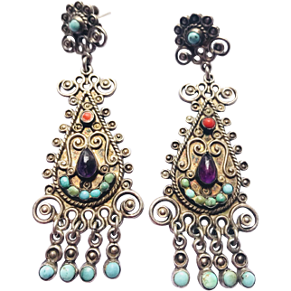 Gorgeous! Dominguez Long Jeweled 925 Mexico Earrings with Coral, Amethyst and Turquoise Stones.