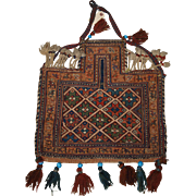 Antique South Persian salt bag by the Afshar tribe in soumak work, late 19th century.