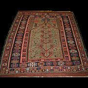 Antique Anatolian Erzurum prayer kilim of superb design on a rare green field.  2nd half 19th century.