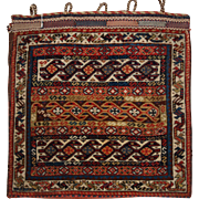 Antique Persian tribal Qashqai bag face of fine weave and good colour with plain weave back. Circa 1900.