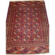 Antique Tekke Turkmen 'dip khali' rug of small size and soft colours.   Circa 1900.