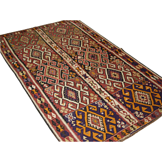 Old Turkish Kars kilim, of traditional village design. The kilim has a rustic feel with a bold graphic design.   Circa 1930.