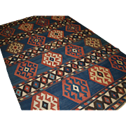 Antique South Caucasian Shirvan kilim of outstanding colour and design.   Circa 1880.