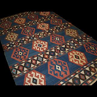 Antique South Caucasian Shirvan kilim of outstanding colour and design.   Circa 1880.