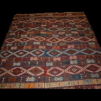 Antique Anatolian Malatya kilim woven in two parts.  Circa 1900.