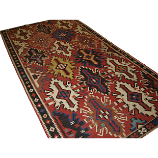 Old East Caucasian Avar kilim of outstanding colour and design.   Circa 1920.