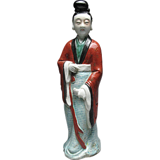 Tall Beautiful Antique Chinese Famille Verte Tall Porcelain Figure Holding Scroll