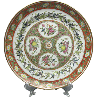 19c. Chinese Export Porcelain Famille Rose Bird Decorated Plate