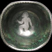 Fine Gustavsberg Porcelain Argenta Figural Decorated Bowl by Wilhelm Kage