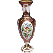 Fantastic Enamel Painted White Cut to Cranberry Bohemian Art Glass Vase