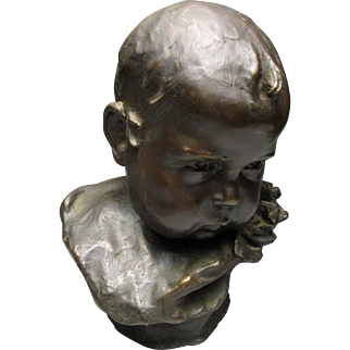 Outstanding Italian Bronze Cast Bust of Brooding Child by Edgardo Simone