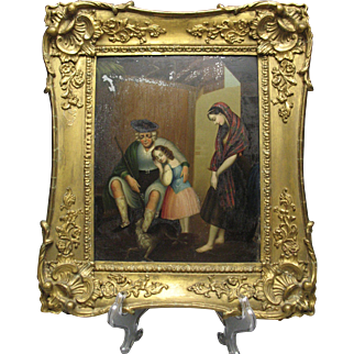 Beautiful Early Oil on Tin Allegorical Painting in Gesso Frame