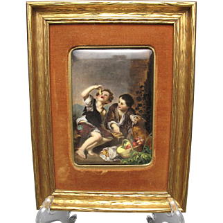 Fine 19c.-20c. Porcelain Hand Painted Plaque Childern Eating Pie After Bartolome Murillo