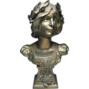 Lovely Victorian Neo-Classical Spelter Bust of A Maiden Enid