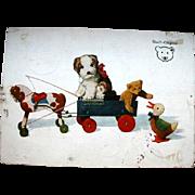 1928 Steiff Postcard Molly Dog & Teddy Bear