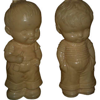 Irwin Molded Plastic Boy and Girl - Paint Worn Off