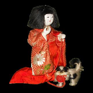 Vintage Japanese Chinbiki Doll with Japanese Chin Dog