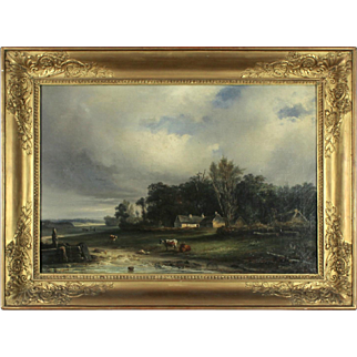 Landscape with Cows at a Watering Hole, 19th Century, oil on canvas