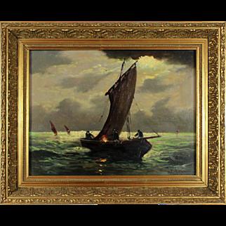 Fishing Boats, 20th Century, oil on fibreboard