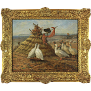 Geese at a Haystack, 19th Century, oil on canvas