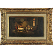 Indoor Genre Scene, 19th Century, oil on board