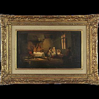 Indoor Genre Scene, 19th Century, oil on board