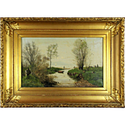 Fishermen By the Lake Shore, 19th Century, oil on canvas