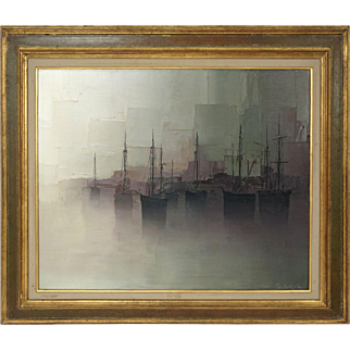 A Misty Port, Gilbert Bria, 20th century