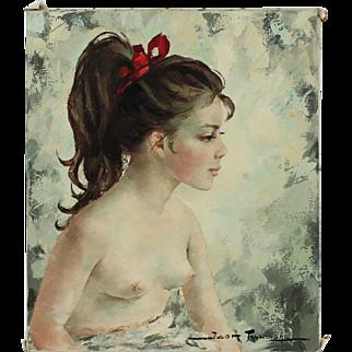 Girl with a Red Ribbon, Author: Igor Talwiński (1907 - 1983), 20th century