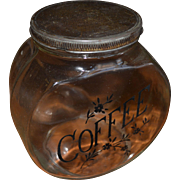 Early 20th Century Glass Coffee Jar With Metal Lid