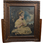 "Print of ""Age of Innocence"" From the Painting by Sir Joshua Reynolds in Original Frame From Early Twentieth Century"