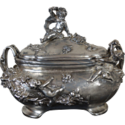 Large Art Nouveau Jewelry Casket with Cupids, silver plated, signed Auguste Moreau, French, c. 1900
