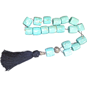 Worry Bead with Solid Turquoise and Handmade 925˚ Silver made by Art Forum