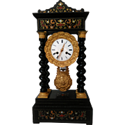 Napoleon III French Ebonized Portico Clock with Boulle Marquetry C. 1860