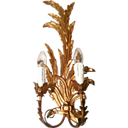 Pair of Italian Carved Wood and Gilded Wall Lights C. 1930 - 1940
